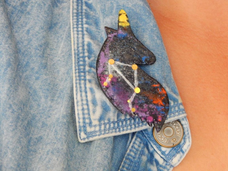Custom Celestial Unicorn enamel pin with Zodiac sign Statement Constellation Galaxy Polymer clay brooch silhouette Space badge Unicorn lover