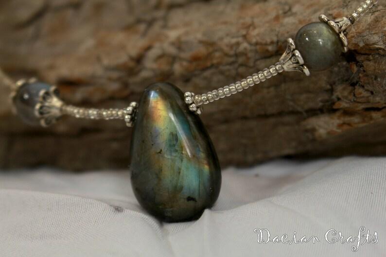 Crystal: Labradorite mystical Choker Crystal Necklace Labradorite Necklace elegant