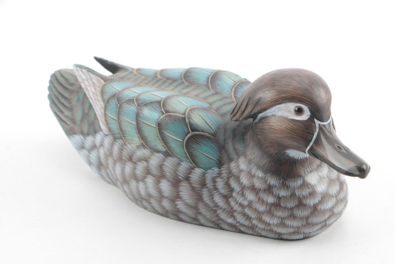 Exquisite Decorative Duck Decoy With Glass Eyes Etsy