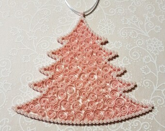 Quilled Pink Christmas Tree Ornament Decorated With Pearls