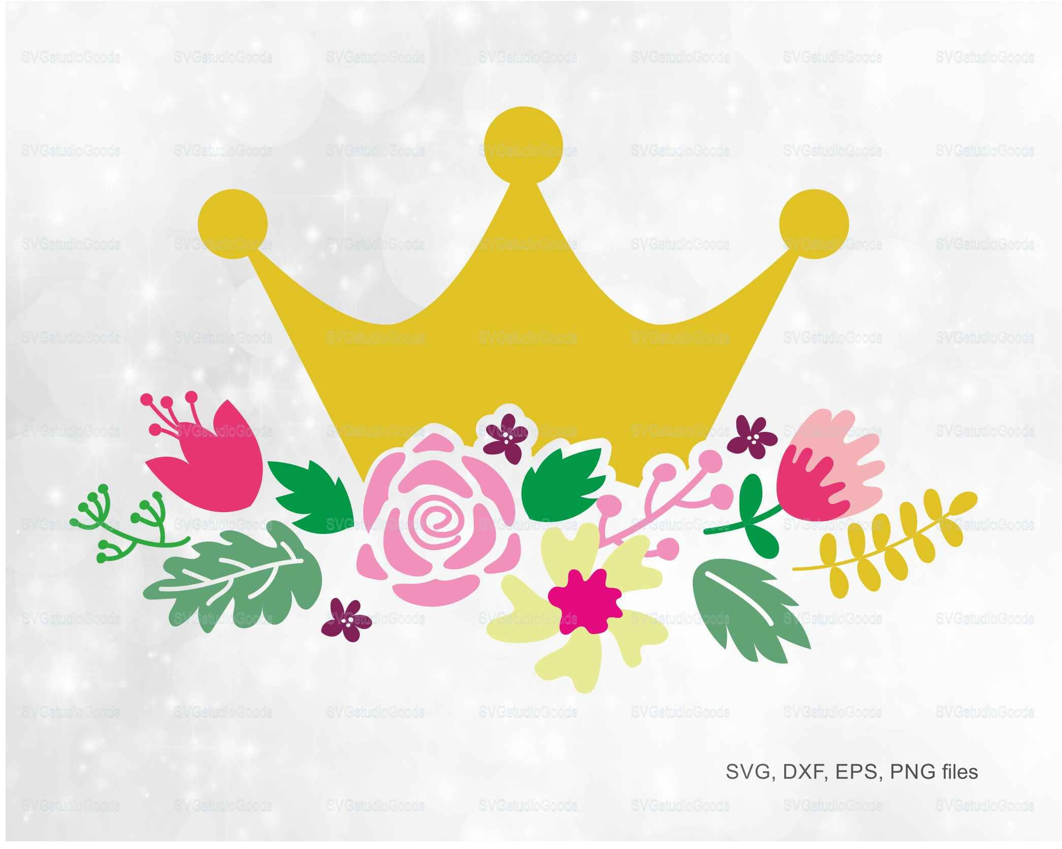 Flower Crown Svg Crown Clipart Eps Dxf Png Pdf Crown Etsy