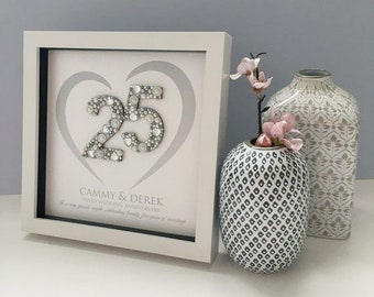 Silver Wedding Anniversary Gift - 25th Anniversary Gift, Personalised 25th Wedding Anniversary Present - Silver Anniversary Frame - 25 Years