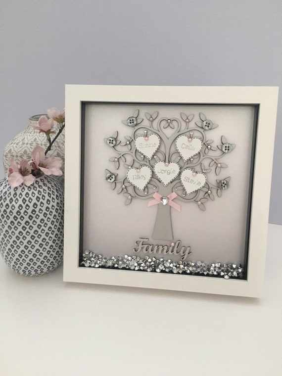 Personalised Family Tree Frame A Lovely Handmade Family Gift Etsy