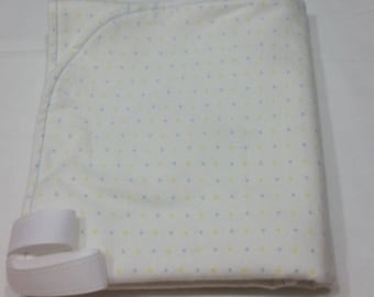 Blue and Yellow Polk-a-dot flannel blanket