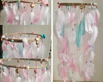 TO order Mobile with feathers for nursery girl room decoration kids room, girl's room mobile baby mobile, baby room decor