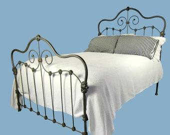 Full Antique Cast Iron Bed, Victorian cast iron bed, ornate iron bed, wrought iron bed, metal bed, antique steel bed, ornate antique bed