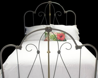 Antq Brass Metal Cast Iron Twin Size Bed Arts /& Crafts Art Nouveau Era Hungary