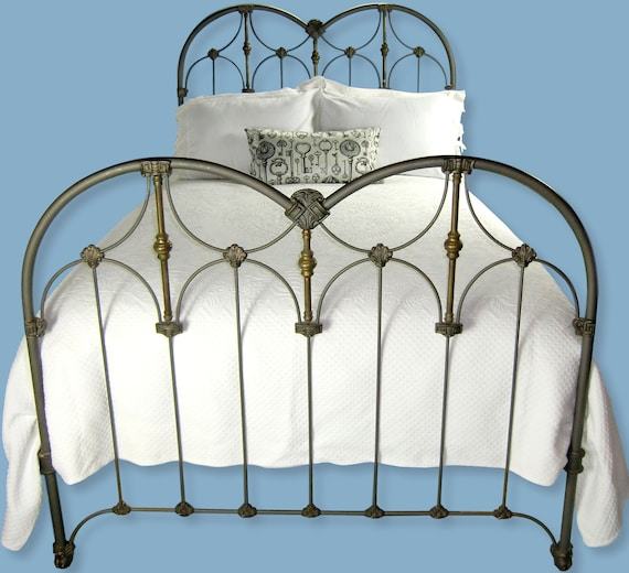Full Antique Cast Iron And Brass Bed, Cast Iron Bed Frame Queen Size