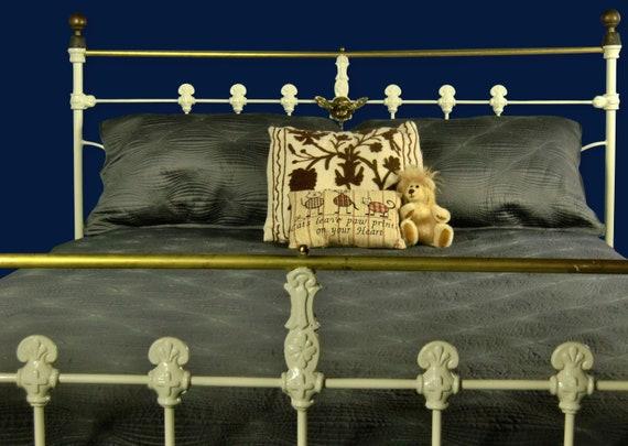 """Queen Metal Antique Bed Headboard Brass 54/"""" Bedroom Vintage Furniture Beds Home"""