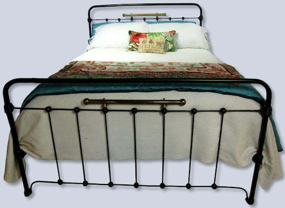 b1395344fbf Queen Antique Cast Iron and Brass Bed