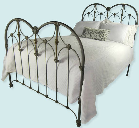 Full Antique Cast Iron Bed Frame Double Size Art Deco Style Etsy