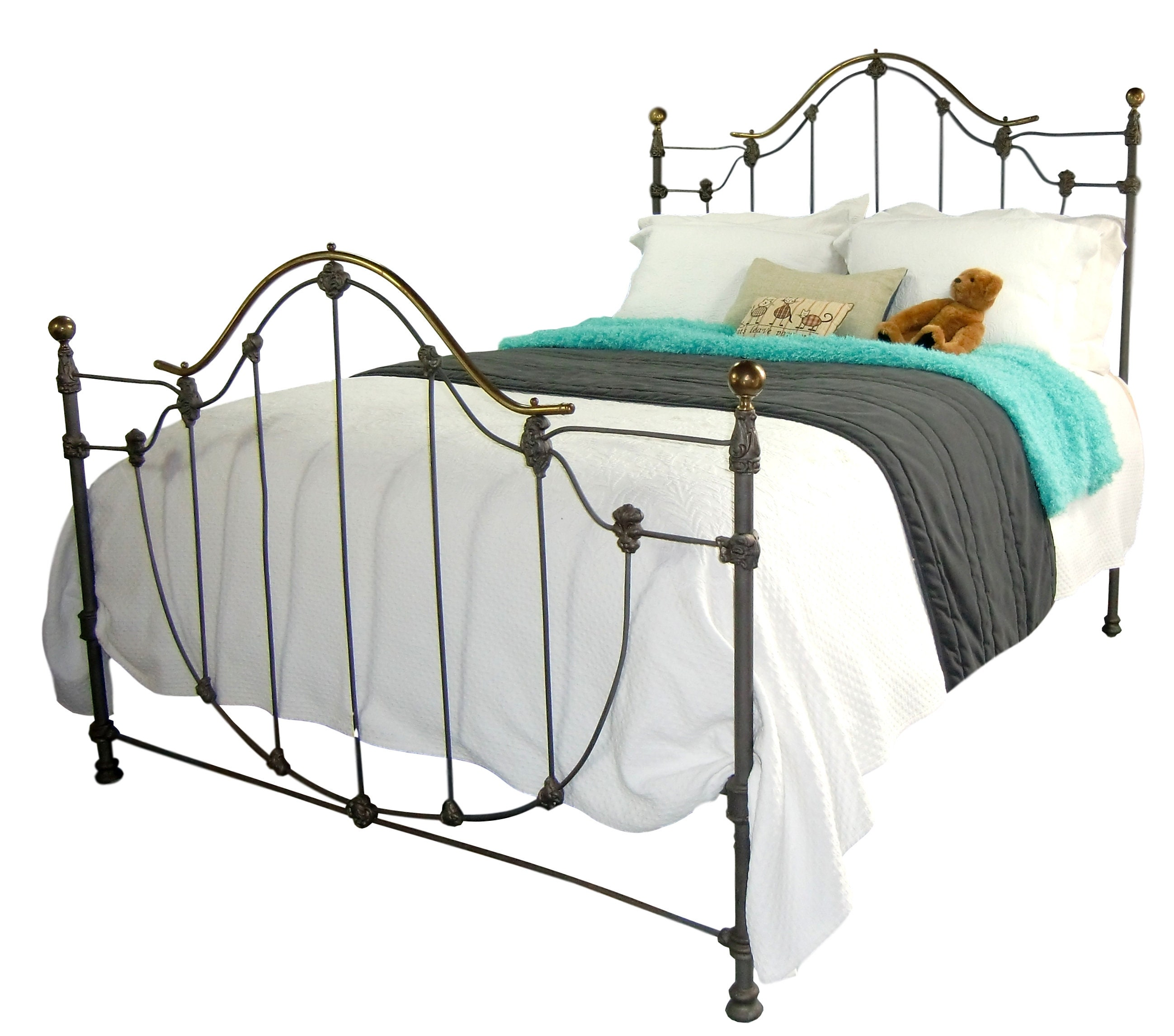 queen antique cast iron bed frame ornate victorian bed etsy. Black Bedroom Furniture Sets. Home Design Ideas