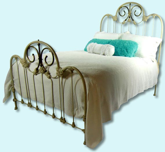 Full Shabby Chic Antique Cast Iron Bed Frame Double Antique Etsy