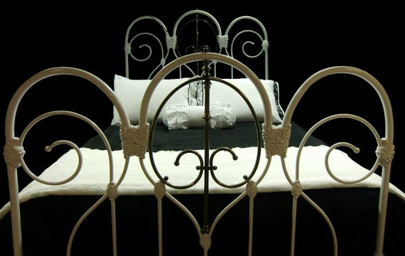 Full Antique Cast Iron And Brass Bed Frame Antique Wrought Etsy