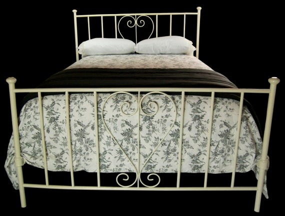 Queen Antique Cast Iron Bed Queen Bed Frame Antique Wrought Etsy