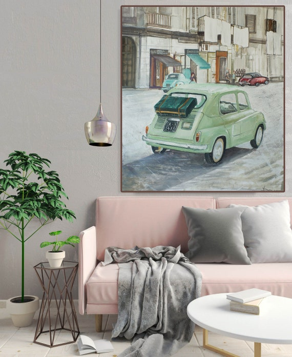 Original oil painting City art Car painting Yellow Cityscape Street Italy decor on canvas Italy wall art gift