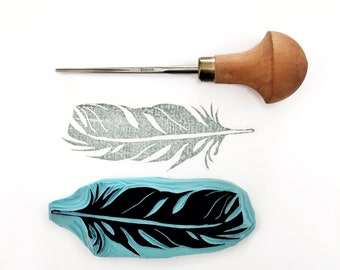 Hand carved stamp feather/feather hand carved stamp