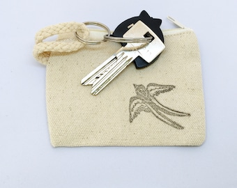 Coin purse swallow, zipper pouch with keyring