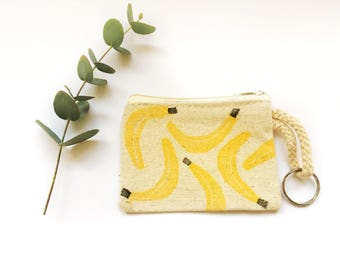 Coin purse banana's, zipper pouch, with keyring