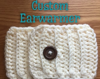 Custom Adult Ear Warmer with Ajustable Button, Headband, Crochet Hat, Handmade, Adult One Size Fits Most