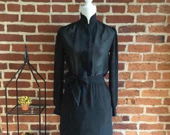 Vintage Sheer Secretaries Dress with Mandarin Collar