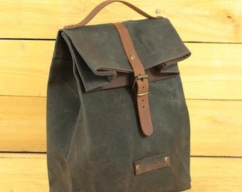 Lunch bag waxed canvas, waxed canvas reusable, Lunchbag with handle, lunchbox, lunch bag, sac á lunch, snack bag.