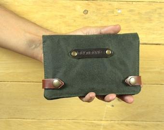 Waxed Canvas Tobacco/tobacco pouch/cigarette case/smoking Accessories/pipe case/Tobacco Case/Moleskine case/Passport case.
