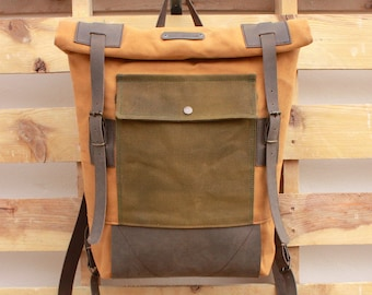 a2b483528eb8 Small brown and green men s backpack waterproof travel