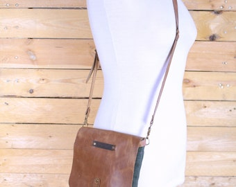 Messenger bag for bicycle in waxed canvas/shoulder bag/waxed canvas shoulder bag/messenger bags waxed/Men messenger bag