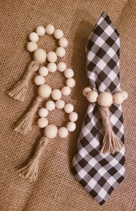 Napking Rings Natural Wooden Beads RusticFarmhouse