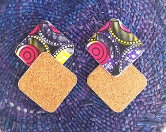 Purple wax and Cork coasters