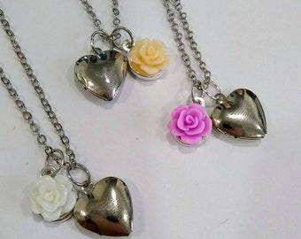 Rose Charm Heart Locket Necklace - Adorable, Cute, Simple, and Affordable