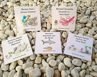 Underwater, Educational Children's Books. Complete set of 5 books, Series 1 of Mini Mers Books.  Lets make learning fun!!