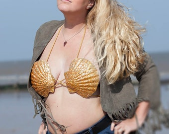 Extra Large Swimmable Mermaid Bra; Gold Rush. Adult Medium for Festivals, parties,  Cosplay, mermaid dress up, mermaid costume, shell bra.