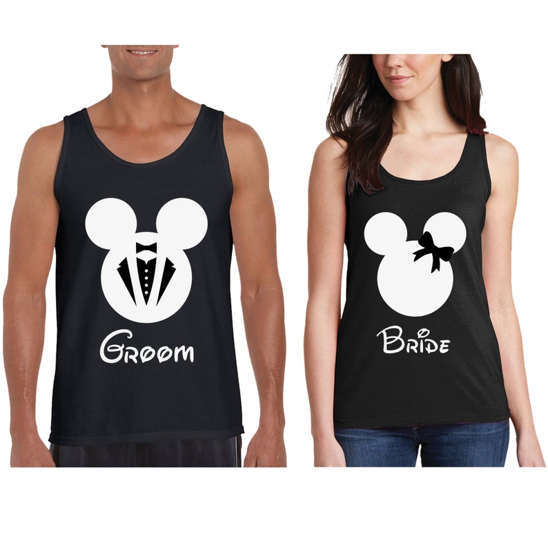 9525f5380608cb Bride Groom Cotton Couple Tank Tops Disney Minnie Mouse and