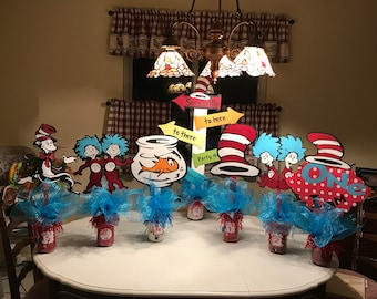 409ab4ed1 Dr Seuss Cat in The Hat themed Centerpieces