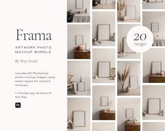 Frame Mockups, Minimalist Frame Mockups, Blank Frame Mockups, Wood Frame Mockups, Poster Mockups, Artwork Mockups, Frame Mockup Photo Bundle