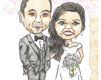 Hand-Drawn Couple Caricature