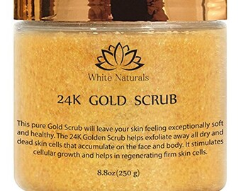 24K Gold Scrub, Moisturizing Face and Body, Exfoliate With Anti-Aging Properties,Removes Dead Skin Cells,Reduces Wrinkles,Repairs Sun Damage