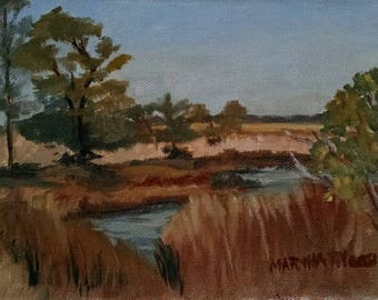 "LANDSCAPE, Maryland, Assateaque Island, Marsh Scene, Original Plein Air Painting, 6x8"" mini, beige & brown, unframed, by Martha Pileggi"