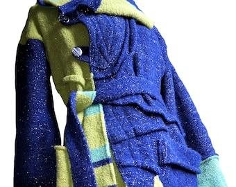 450 EUR SALE / Aurora Warp around 100% merino wool silver thread handmade unique knitted coat asymmetrical unique high quality