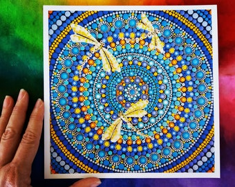 "Print made with of  Valeria Campagna's original painting ""Mandala Dragonflies"""