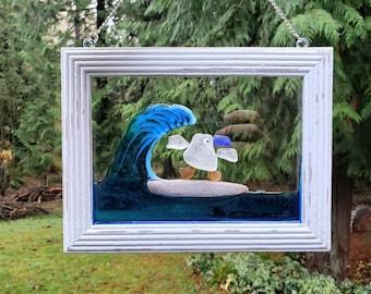 Seaglass Art - Beach Glass Art - Suncatcher - Window Decor - Gift - Whimsical Art -  Surfing