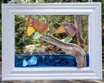 Seaglass Art - Beach Glass Art - Suncatcher - Window Decor - Driftwood - Birds - Fish