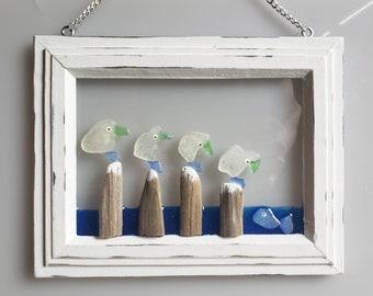 Seaglass Art - Beach Glass Art - Suncatcher - Window Decor - Gift - Seagulls -Suncatcher