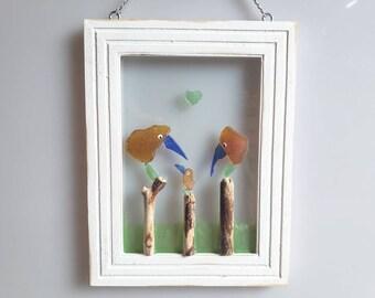 Seaglass Art - Beach Glass Art - Suncatcher - Window Decor - Gift - Birds - Family
