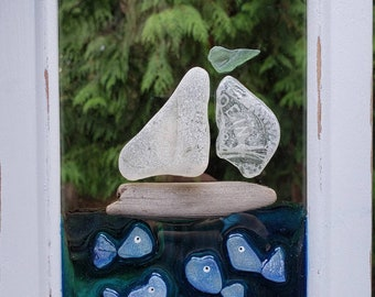 Seaglass Art - Beach Glass Art - Suncatcher - Window Decor - Gift - Sailboat