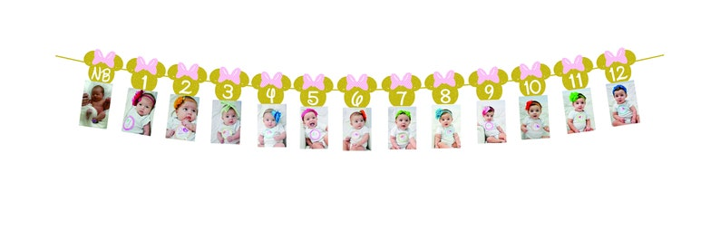 Minnie mouse birthday Banner |Minnie mouse decor | Photo Birthday Banner Minnie Mouse 12 month photo Banner Gold glitter light pink bow