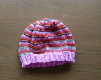 Pink striped beanie hat