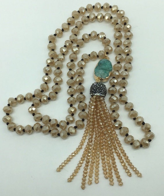 Fashion M-knotted Crystal Beads Crystal Tassel Necklace Woman Gift